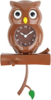 Lily's Home Pendulum Owl Clock with Revolving Eyes and Swinging Branch, Battery Powered and Wall Mountable, Wonderful and Whimsical Addition to Themed Bedroom Décor, Brown (15 Inches)