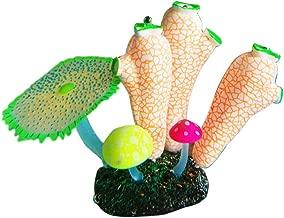 MJuan-clothing,Aquarium Artificial Grass Aquarium Accessories, Fluorescent Artificial Fish Tank Aquarium Coral Sea Anemone Plant Ornament Decor - Orange White