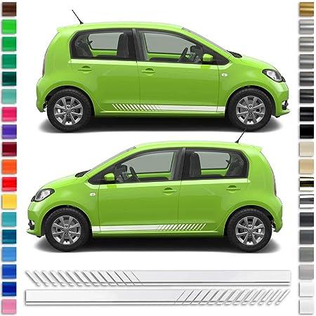 Auto Dress Seiten Streifen Aufkleber Set Dekor Passend Für Skoda Citigo In Wunschfarbe 100 White Gloss Auto