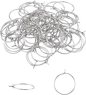 UNICRAFTALE 100pcs 20mm Ear Wine Glass Hypoallergenic Stainless Steel Hoop Earring 0.7mm Pin DIY Earring Wires Findings fo...