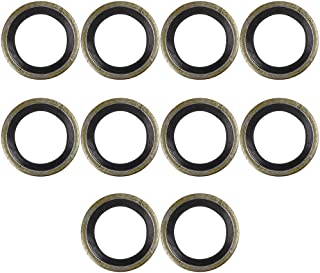 X AUTOHAUX 10pcs M10 Bronze Tone Car Engine Oil Drain Crush Flat Bonded Washer Gaskets