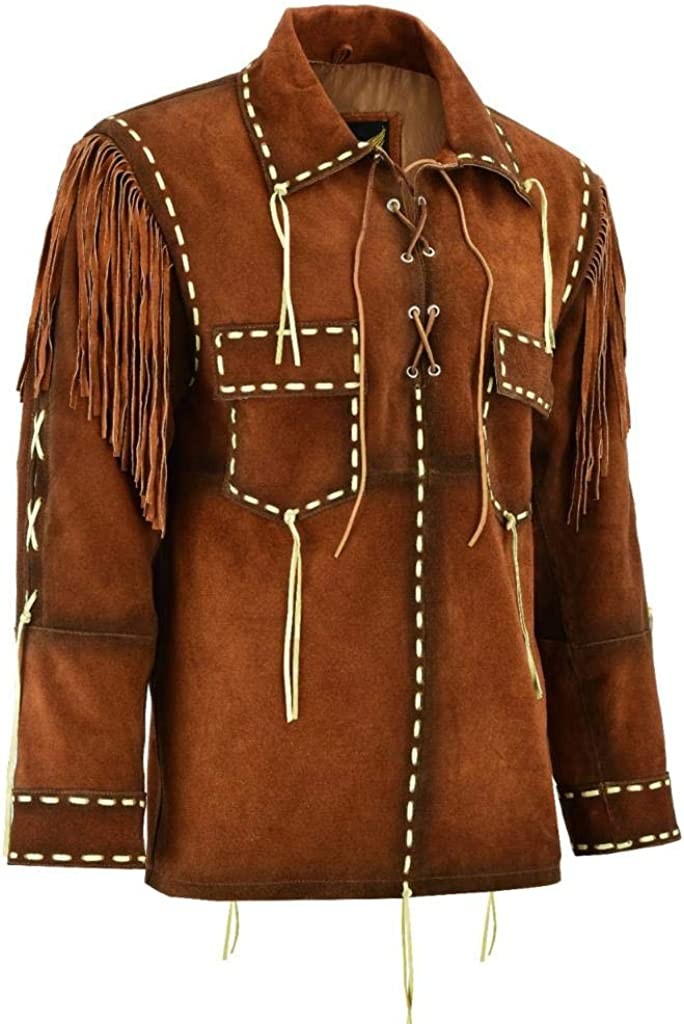 Leatherick Mens Traditional Cowboy Western Suede Leather Jacket Native American brown Coat with fringes