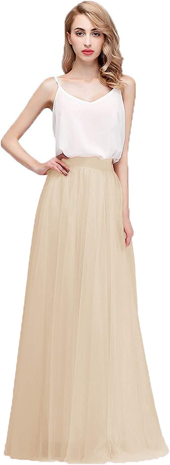 Honey Qiao Women's Long Tulle High Waist Floor Length Bridesmaid Maxi Skirts Party Prom Skirt