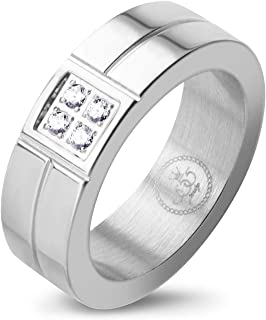 555Jewelry Womens Stainless Steel Classic CZ Inlay Groove Engagement Wide Band Ring