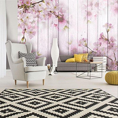 ForWall Fototapete Vlies - Wanddekoration Wandtapete - Kirschblüten auf den Brettern V8 (368cm. x 254cm.) AMF11468V8 Wandtapete Design Tapete
