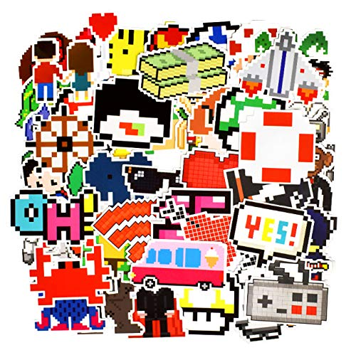 50 PCS Anime Pixel Style Stickers Nostalgic Game Graffiti Cartoon Stickers DIY for Laptop PS4 Tablet Luggage Phone Bicycle Cup