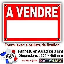 Protection Anti-UV Dimensions 600x400 mm Plastique Rigide AKILUX 3,5mm Orange Panneau Immobilier Maison /à Vendre avec Oeillets aux 4 Coins