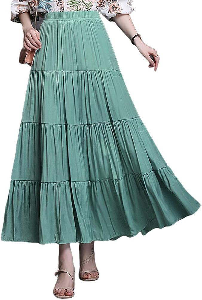 IDEALSANXUN Womens Aline Elastic Waist Flared Pleated Tiered Long Skirts