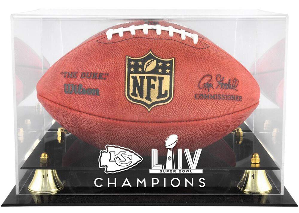 Full Size Rawlings 2019-2020 Official NFL Super Bowl 54 Champions Kansas City Chiefs Football with Display Tee