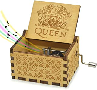 Queen Music Box Hand Crank Mechanism Tnue Bohemian Rhapsody 18 Note Antique Classic Gift for Friends Novel Gifts for Child