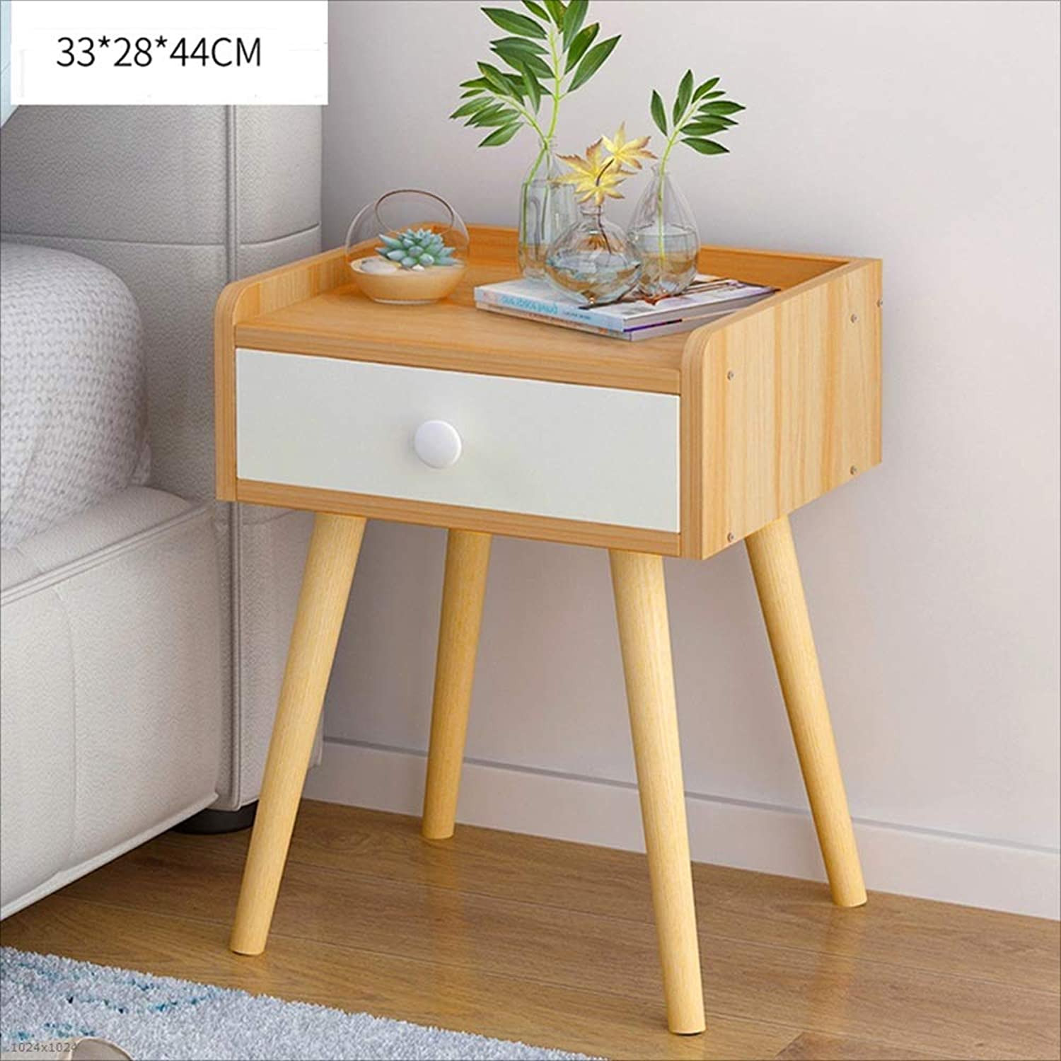 NAN Liang Bedside Table Cabinet White Drawer Wooden Night Stand Modern Nightstand Storage Cabinet with 4 Wooden Legs Storage Unit (color   Walnut, Size   33  28  44CM)