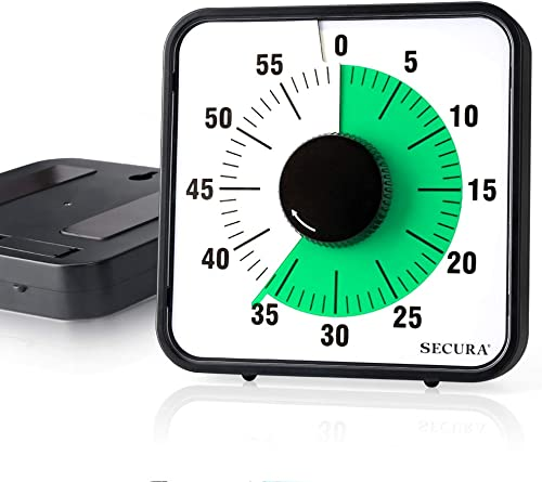 wholesale Secura Visual Timer 60-Minute Mechanical Kitchen Timers for Cooking, 7.5-Inch Oversize Countdown Clock for Teaching, Meeting, Facial with Magnetic online sale Backing, Collapsible new arrival Legs, Hanging Hole (Green) outlet online sale