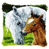 Vervaco Stute mit Fohlen Knüpfkissen mit Knüpfhaken, Baumwolle, Mehrfarbig, 40 x 40 x 1 cm