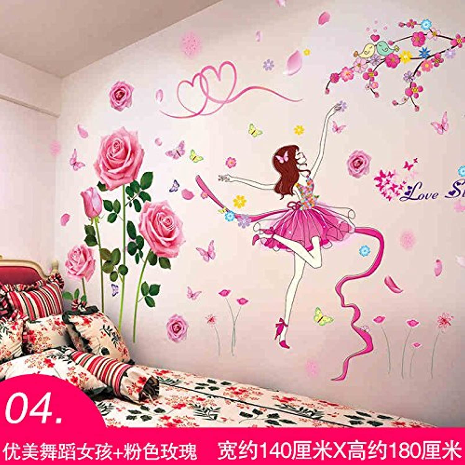 Znzbzt Bedroom Wall Art Room Wall Decoration 3D Wall Paper self Adhesive Paper, and Girls + pink