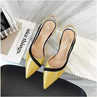 LUKEEXIN Color Matching Side Shoes Fashion Stiletto High-Heeled Shoes Pointed Women's Shoes