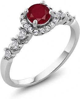 0.98 克拉 圆形 红色 红宝石 搭配 白色 黄玉托帕石 925银