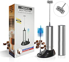 Daugee Milk Frother Handheld,Battery Operated,Electric Travel Coffee whisk with Clean Brush, Stand and Storage Tube,Stainless Steel Foam Maker Drink Mixer for Cappuccino Latte (Silver)