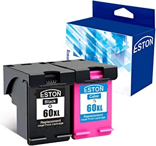 ESTON Remanufactured Ink Cartridge Replacement for HP 60 XL 60XL CC641WN CC644WN High Yield Combo Pack (1 Black | 1 Tri-Color)