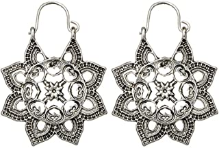 Clearance! Hot Sale! ❤ Antique Silver Gypsy Indian Tribal Ethnic Hoop Dangle Mandala Earrings Boho Under 5 Dollars Valentine's Day Gifts for Girlfriend 2019 New