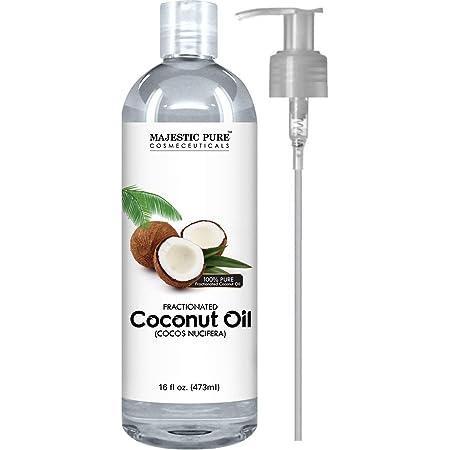 Majestic Pure Fractionated Coconut Oil - Relaxing Massage Oil, Liquid Carrier Oil for Diluting Essential Oils - Skin, Lip, Body & Hair Oil Moisturizer & Softener - 16 fl oz