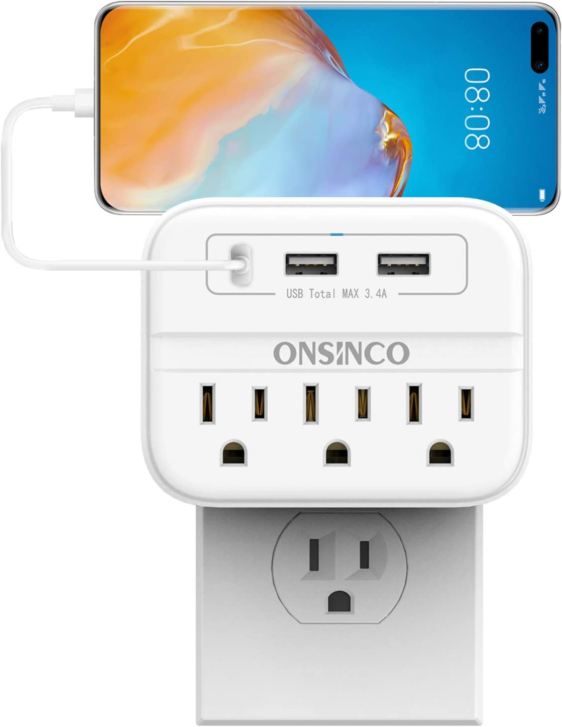 Wall Max 86% OFF Charger Outlet Extender ONSINCO National uniform free shipping Surge 3-Outlet Protector M