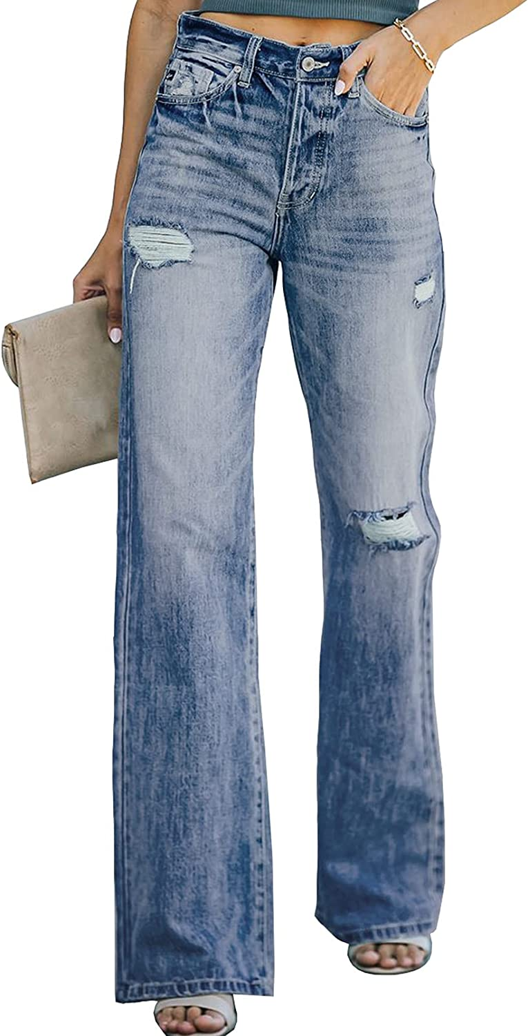 80s Jeans, Pants, Leggings | 90s Jeans Dokotoo Women High Rise Ripped Flare Jeans Distressed Denim Pants  AT vintagedancer.com