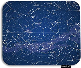 Moslion Star Map Mouse Pad Star Constellation in Night Sky Circle Lines Gaming Mouse Pad Rubber Large Mousepad for Computer Desk Laptop Office Work 7.9x9.5 Inch Navy Blue