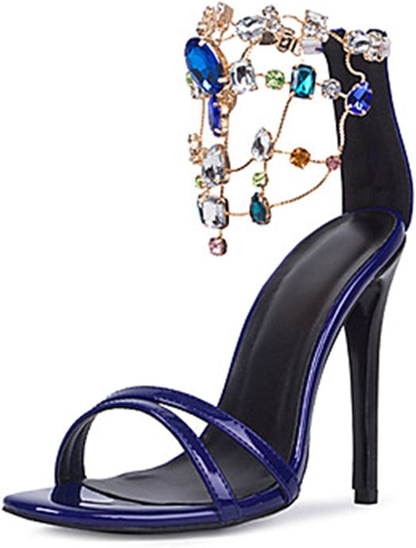 Women's High Heeled Stiletto Ankle Strap Zip Open-Toe Rhinestone Mesh Sandals