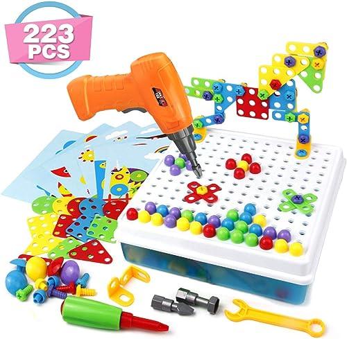 Mosaique Enfant Puzzle 3D Construction Enfant Jeu STEM Kit Mosaique 223 Pcs pour Jouet Enfant Fille Garcon 3 4 5 Ans