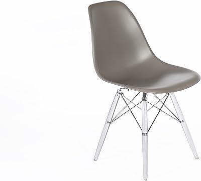 Stilnovo The Mid-Century Eiffel Dining Chair, Clear Leg/Grey Top