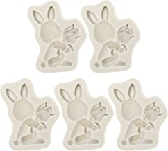 VALICLUD 5pcs Easter Rabbit Silicone Mold 3D Bunny DIY Cookie Cake Chocolate Baking Molds Bunny Silicone Coaster Molds Rab...