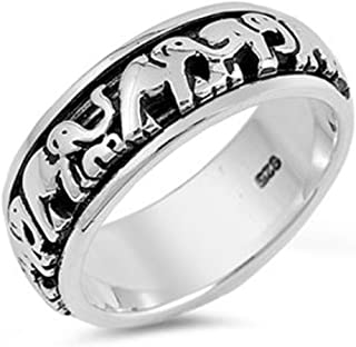 Double Accent Sterling Silver Lucky Elephants Spinner Ring (Size 4 to 14)