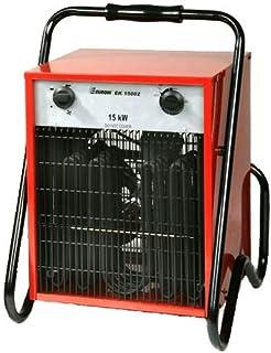 Euromac EK15002 Calentador de ventilador Negro, Gris, Rojo 15000 W - Calefactor (Calentador de ventilador, IP24, Negro, Gris, Rojo, Metal, 15000 W, 5000 W)