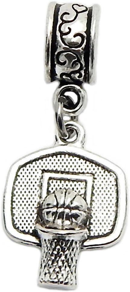 J&M Dangle Basketball Shot Made Charm Bead for Charms Bracelets