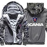 QAQQQ Motif Scania à Capuche pour Hommes Vêtements De Sport Fermeture à Glissière à Manches Longues Réchauffez Sweat Convient B-XXL