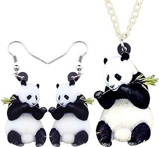 أطقم مجوهرات الباندا الصينية الحلو من الأكريليك من DUOWEI أقراط متدلية متدلية قلادة فريدة من نوعها كهدايا للنساء