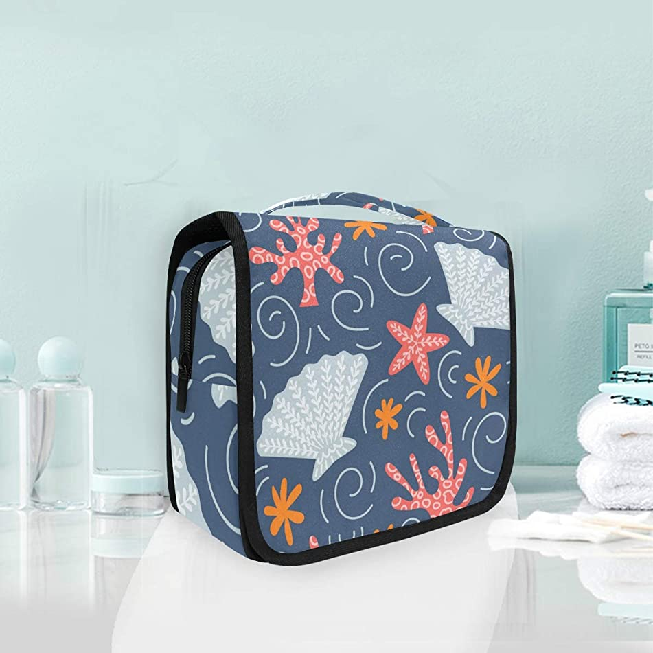 Hanging Travel Toiletry Bag Marine Clipart Kit Makeup Case Cosmetics Organizer for Men Women by domook