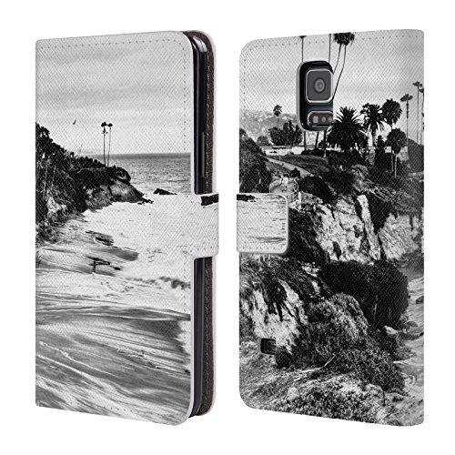 Head Case Designs Oficial Haroulita Laguna Negro Blanco 2 Carcasa de Cuero Tipo Libro Compatible con Samsung Galaxy S5 / S5 Neo