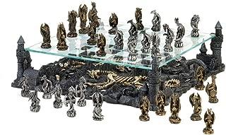 Dragon Themed Chess Set Glass Revolutionary Tournament Medieval Kids Adults Games Modern Standard Tabletop Decor