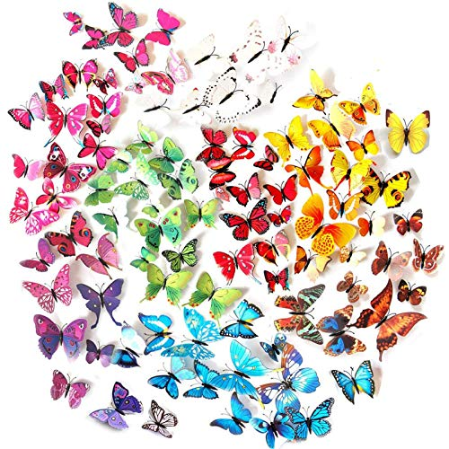 Tomkity 96 Adhesivos Mariposas 3D Decorativos para Pared