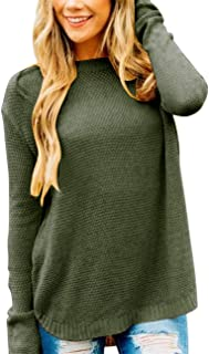 Women's Long Sleeve Oversized Crew Neck Solid Color Knit Pullover Sweater Tops