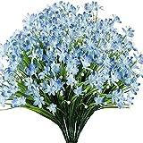 Yyhmkb Flores Artificiales de narcisos, Paquete de 15 Plantas Artificiales Falsas Resistentes a los Rayos Ultravioleta, sin decoloración, Plantas de plástico sintético para Boda, Ramo de Bridas, Azul