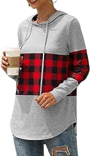 Women's Pullovers Hoodies Tops Plaid Printed Long Sleeve Drawstring Sweatshirt
