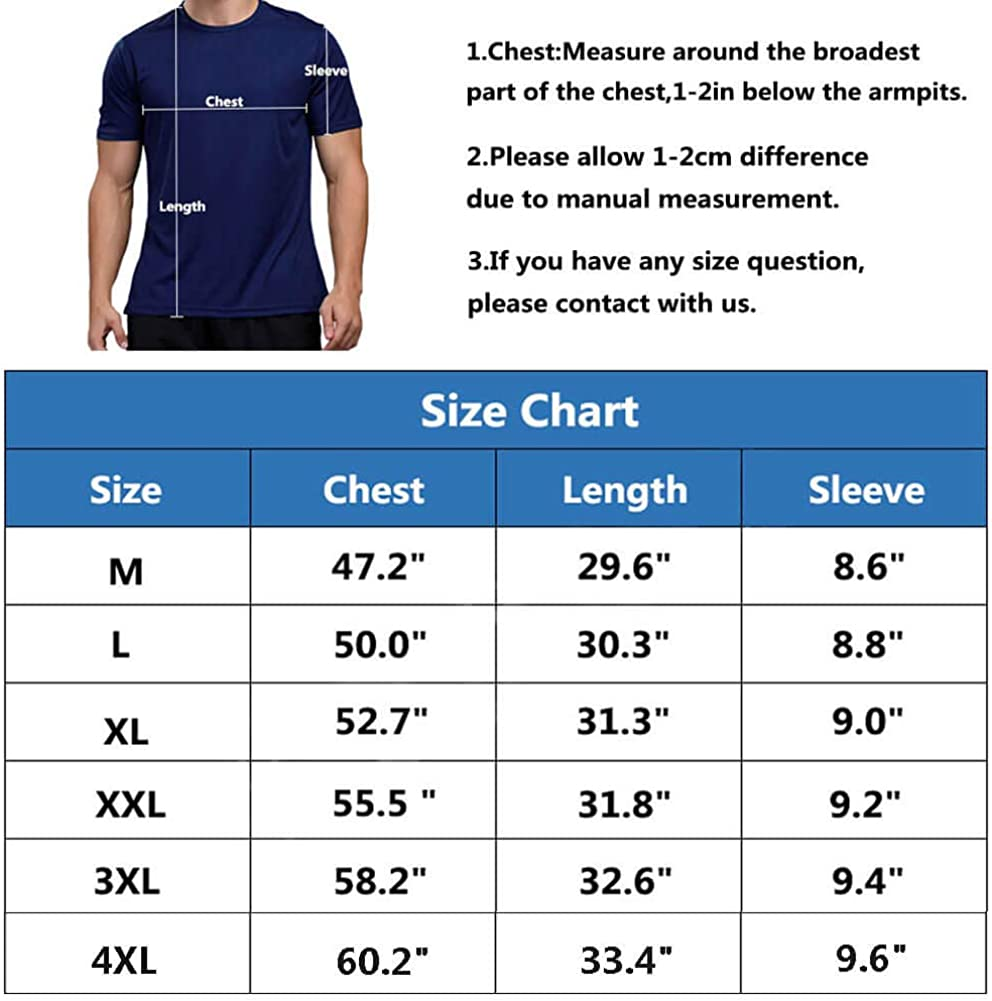 Men's Dry Fit Athletic Shirts Big and Tall Short Sleeve Workout Shirt for Men Moisture Wicking T-Shirt