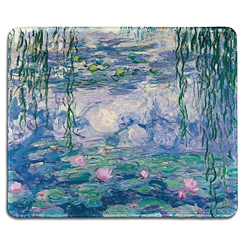 dealzEpic - Art Mousepad - Natural Rubber Mouse Pad with Famous Fine Art Painting of Waterlilies by Claude Monet - Stitched Edges - 9.5x7.9 inches