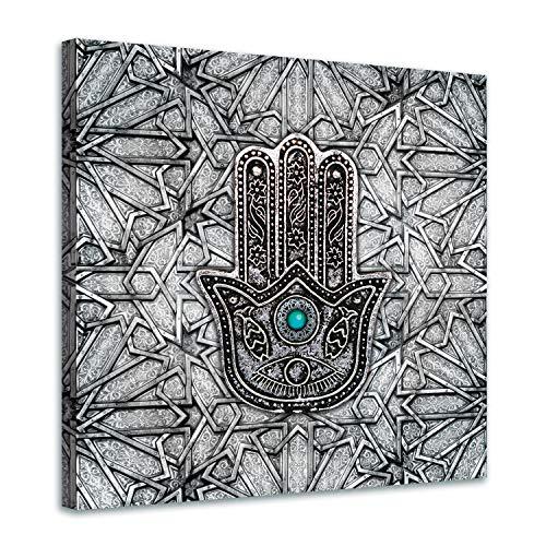 Tableau Arabe Main De Fatma - 60x60cm et 80x80cm - Turquoise