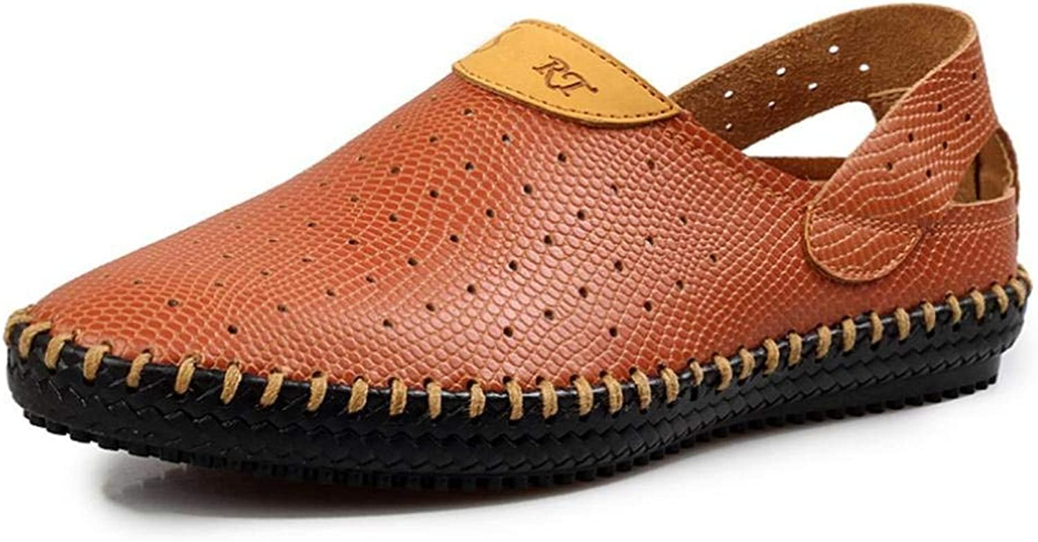 JaHGDU Summer Breathable Comfortable Casual Hollow shoes Men's Leather Sandals shoes Tide Stylish Solid color Outdoor Universal shoes