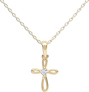 Girl's 14K Gold-Plated First Communion Infinity Cross Pendant Necklace with CZ