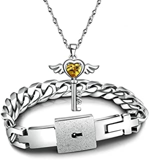 JIANG Key and Lock Necklace for Couples Bracelets Lover Boyfriend and Girlfriend Bracelets Pendant Titanium Steel Friendsh...