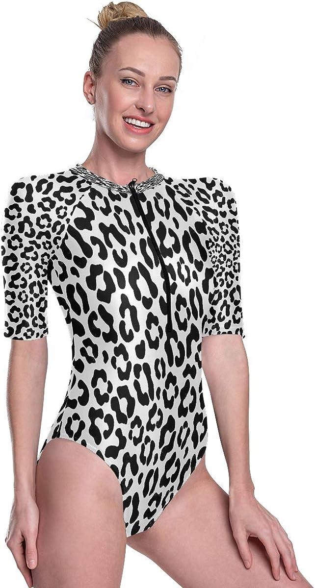 Godfery Gabriel Womens Zip Up Printed Short Sleeve 1 Piece Rash Guard Swimsuit Leopard Print Abstract Swimwear